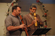 Brent Haines and Wayne McClesky playing native american flutes
