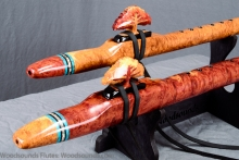 Red Mallee Burl Native American Flute, Flute Set A And E, Mid A-4 and Low E-4, #K20L